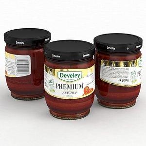 Food Jar Develey Ketchup Premium Classic 300g 2021 3D