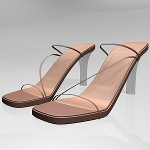 stylish square-toe chunky-heel slide 3D model