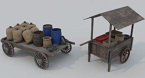 3D Market carts and props