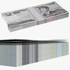 3D North Korea 5 Won Banknotes Bundle