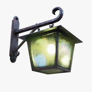 3D Antique Rusty Iron Wall Lamp model