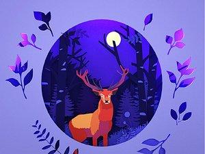 3D model Mural Nine-Colored Deer Elk Moonlight Blue Paper-cut Deer Drinking Water Lake Forest Tree Paper-cut