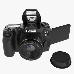 Canon EOS 90D DSLR camera 50mm f1.8 STM Lens 02 3D model