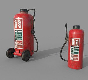 3D 2 Old Fire Extinguishers model