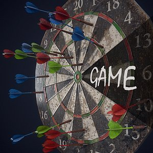 Dart board-Game ready props PBR Low-poly 3D model 3D model