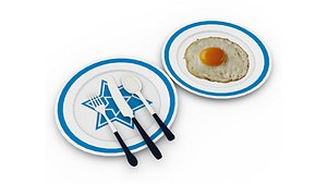3D model Egg Omlet with plate and knife