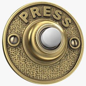 3D model brass door buzzer button