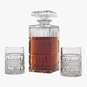 3D whiskey decanter glasses