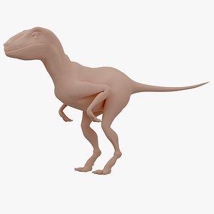 3D dinosaur velociraptor base model