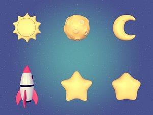 3D cartoon stars