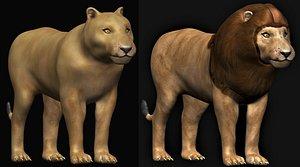 lion lioness 3D