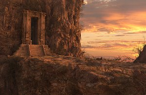 3D Fantasy Rock Mountain Gate Cave model