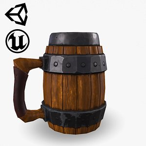 3D Fantasy Wooden Beer Mug model