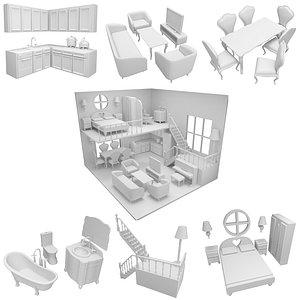 3D cut printable dollhouse cnc model