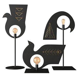 AV Metal Pavoncelle Trio Lamp 3D model