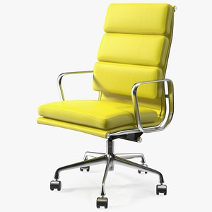 Executive Chair Yellow Leather 3D