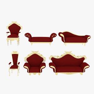 3D Victorian Sofa Set Red
