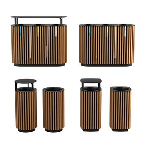 Quinbin litter bins with wooden slats sheathing 3D