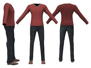 v neck jumper pants 3D