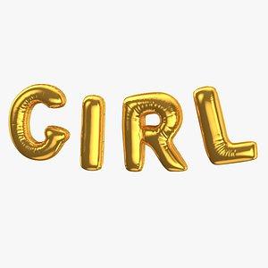 3D Foil Baloon Words Girl Gold model