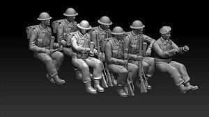 3D British soldiers ww2 model