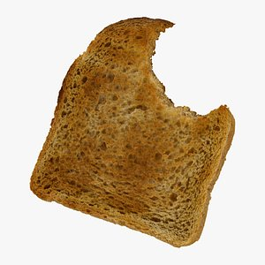 3D model bread toast white 01