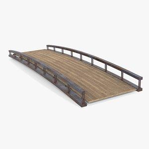3D model small wooden bridge