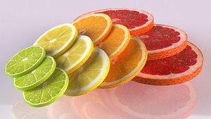 3D citrus slices