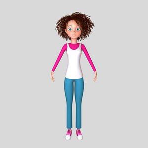 3D model girl cartoon toon