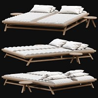 Double wooden outdoor chaise lounge S19
