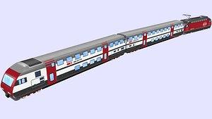 3D model swiss ic2000 passenger train with re 460 locomotive