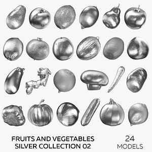 3D Fruits and Vegetables Silver Collection 02 - 24 models model