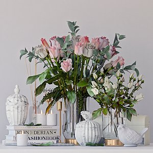 decor set roses 3D model