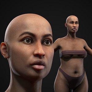 3D Plus size black woman