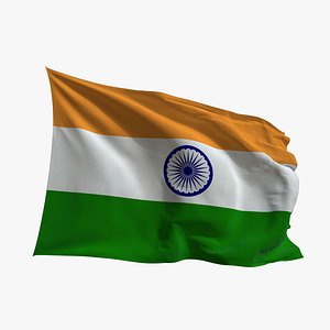 3D model Realistic Animated Flag - Microtexture Rigged - Put your own texture - Def India