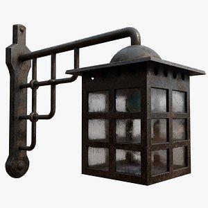 3D model Antique Entrance Lamp Black Rusty