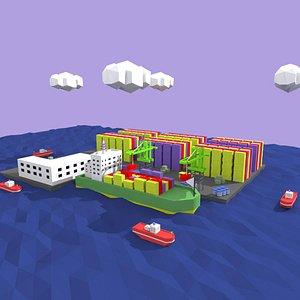 3D model low poly cartoon port