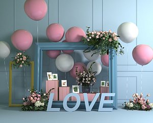 wedding balloon lobby flower wall green plants gardening party stage 3D