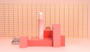 Press bottle facial cleanser 3D model