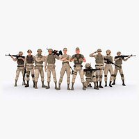 LowPoly Military Squad Rigged Characters Bundle