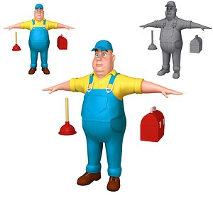 3D worker plumber cartoon