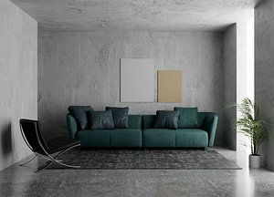 Simple and photorealistic living room 3D model