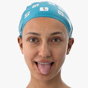 3D Joy Human Head Tongue Show Down AU19 Clean Scan model