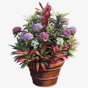 3D hydrangea plant planters model