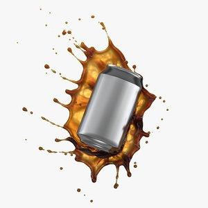 Soda Can Liquid Splash 3D model