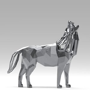 3D statue wolf howl model