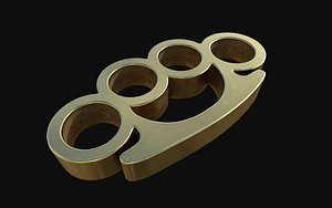 gold brass knuckles 3D model
