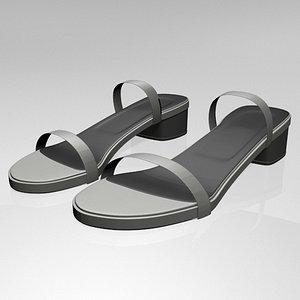 3D model stylish round-toe chunky-heel sandals