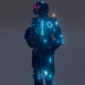 Cyborg Robot Police Officer 3D
