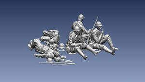 3D model french soldier ww2